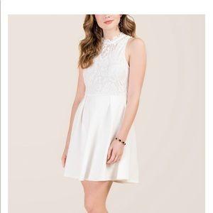 Hi-neck White Dress